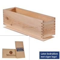 Wijnverpakking houtenkist schuifdeksel