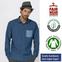 Denim shirt overhemd gekleurd pocket