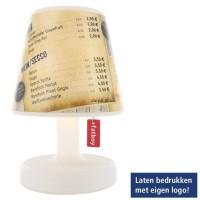 De kleine lampenkappen met eigen opdruk